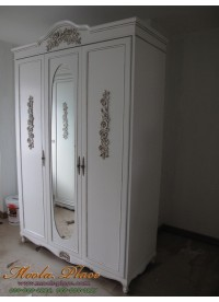 ตู้เสื้อผ้าสไตล์วินเทจทรงโค้งแกะลายกุหลาบ บานหน้าติดกระจก ขนาด 150 x 60 x 240 ซม.