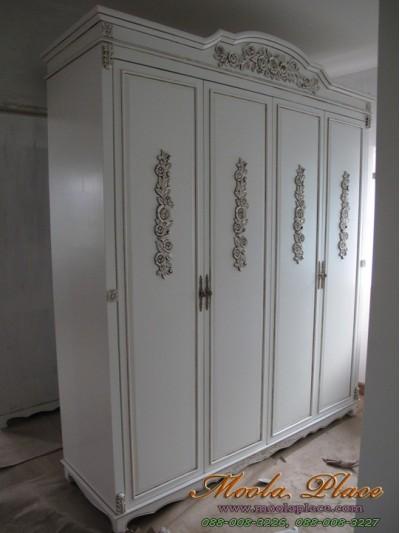 ตู้เสื้อผ้าสไตล์วินเทจทรงโค้งแกะลาย ขนาด 200 x 60 x 240 ซม.