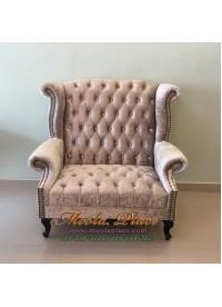 โซฟา Wing Chair ขนาด 120 ซม. ปีกโค้ง ขาสิงห์สวยหรู ตอกหมุด