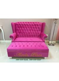 โซฟา Wing Chair 150 ซม 2 ที่นั่ง บุผ้ากำมะหยี่ พร้อมสตูลยาว ไม่รวมคริสตัล ขนาด กว้าง 150  x ลึก 85 x สูง 110 สามารถเปลี่ยนสีหนังและผ้ากำมะหยี่ได้