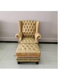 โซฟา Wing Chair 1 ที่นั่ง ขาไม้  บุหนัง PU ผ้าไหม พร้อมที่สตูล  สามารถเปลี่ยนสีหนังหรือตัวผ้าได้