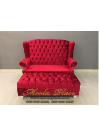 โซฟา Wing Chair 2 ที่นั่ง ขนาด 150 ซม บุผ้ากำมะหยี่ พร้อมสตูลยาว ขนาด กว้าง 150  x ลึก 85 x สูง 110 สามารถเปลี่ยนสีและลายผ้าได้