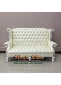 โซฟา Wing Chair ขนาด 180 ซม. ปีกโค้ง ขาสิงห์ ตอกหมุด บุหนัง สวยหรู