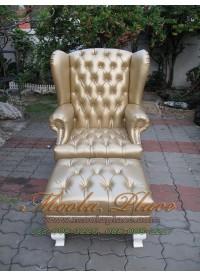 โซฟา Wing Chair 1 ที่นั่ง ขาสิงห์ พร้อมที่สตูลวางเท้า บุหนัง PU สามารถเปลี่ยนสีหนังหรือตัวผ้าได้