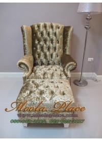 โซฟา Wing Chair 1 ที่นั่ง ขาไม้เหลี่ยม พร้อมที่สตูลวางเท้า บุผ้ากำมะหยี่  สามารถเปลี่ยนสีหนังหรือตัวผ้าได้