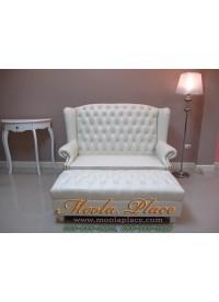 โซฟา Wing Chair 150 ซม 2 ที่นั่ง บุหนัง PU พร้อมสตูลยาว ล ขนาด กว้าง 150  x ลึก 85 x สูง 110 สามารถเปลี่ยนสีหนังและผ้ากำมะหยี่ได้