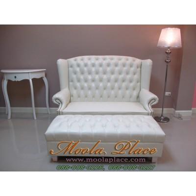 โซฟา Wing Chair 150 ซม 2 ที่นั่ง บุหนัง PU พร้อมสตูลยาว ไม่รวมคริสตัล ขนาด กว้าง 150  x ลึก 85 x สูง 110 สามารถเปลี่ยนสีหนังและผ้ากำมะหยี่ได้