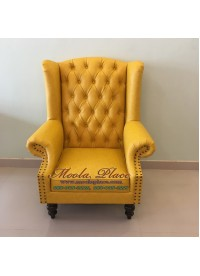 โซฟา Wing Chair 1 ที่นั่ง ขากลึง บุหนัง  สามารถเปลี่ยนสีหนังหรือตัวผ้าได้