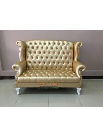 โซฟา Wing Chair ขนาด 150 ซม. ขาสิงห์ ปีกโค้ง ตอกหมุด สวยหรู บุหนัง  PU