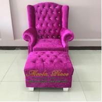 โซฟา Wing Chair 1 ที่นั่ง ขาไม้  บุผ้กำมะหยี่ พร้อมที่สตูล  สามารถเปลี่ยนสีหนังหรือตัวผ้าได้