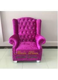 โซฟา Wing Chair 1 ที่นั่ง บุผ้กำมะหยี่ สามารถเปลี่ยนสีหนังหรือตัวผ้าได้