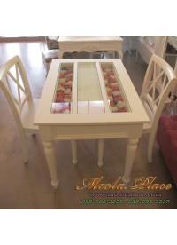 โต๊ะรับประทานอาหารขากลึง ท๊อปกระจก ขนาด 100 x 75 x 75