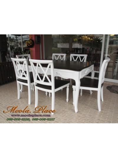 โต๊ะรับประทานอาหารแปะลายแกะรอบโต๊ะ ท๊อปทำสีโอ๊ค ขนาด 160 x 90 x 75 ซม.