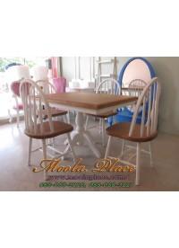 โต๊ะรับประทานอาหารขาแฉกทำสี ทูโทน ขนาด 120 x 80 x 75 ซม.