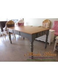 โต๊ะรับประทานอาหารขากลึง 4 ลิ้นชัก หน้า - หลัง ท๊อปทำสีธรรมชาติ ขนาด 160 x 90 x 75 ซม.