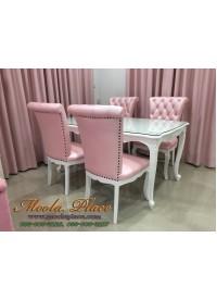 โต๊ะรับประทานอาหารแกะสลักลายหลุยส์ ทำสีพ่นขาว ขนาด 160 x 90 x 75 ซม.