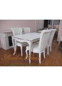 โต๊ะรับประทานอาหารแกะลายหลุยส์ ทำสีพ่นขาวเดินเงิน ขนาด 160 x 90 x 75 ซม.