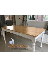 โต๊ะรับประทานอาหารกลึง ท๊อปทำสีธรรมชาติอ่อน ขนาด 160 x 90 x 75 ซม.