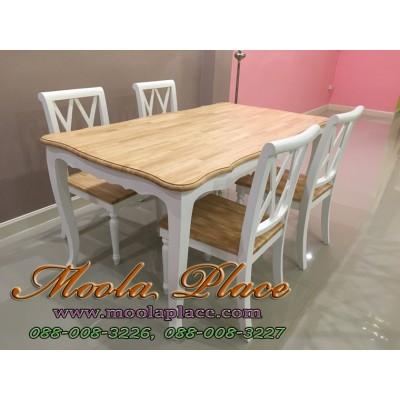 โต๊ะรับประทานอาหารขาสิงห์ ท๊อปทำสีธรรมชาติอ่อน ขนาด 160 x 90 x 75 ซม.