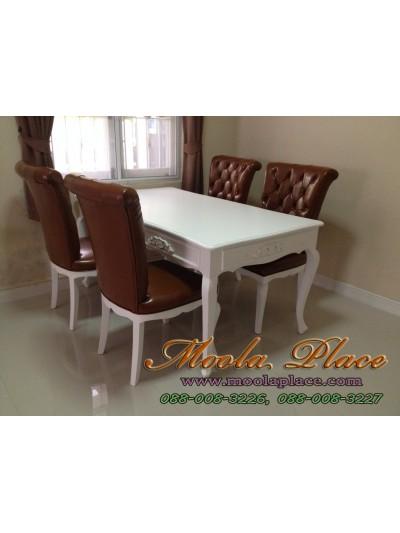โต๊ะรับประทานอาหารแปะลายแกะรอบโต๊ะ ทำสีพ่นขาว ขนาด 160 x 90 x 75 ซม.