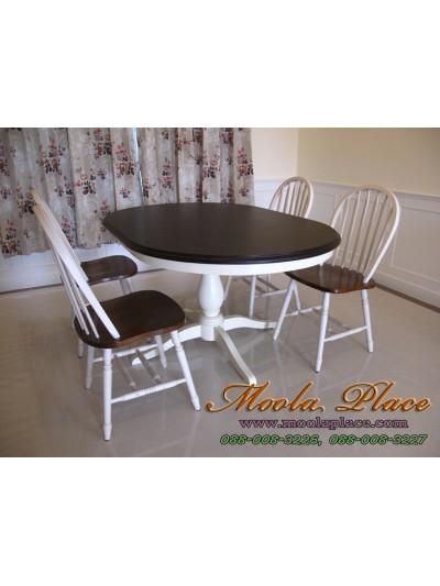 โต๊ะรับประทานอาหารทรงวงรี ท็อปโอ๊ค ขนาด 150 x 100 x 75 ซม.