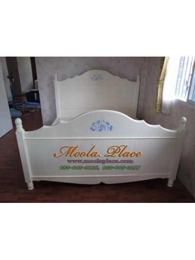 เตียงนอนสไตล์วินเทจ เพ้นท์ลายกุหลาบ ขนาด 6 ฟุต