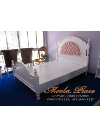 เตียงนอน พร้อมบุหัวเตียงหัว ขนาด 5 ฟุต (สามารถเลือกเปลี่ยนผ้าหนือหนังในการหุ้มได้)