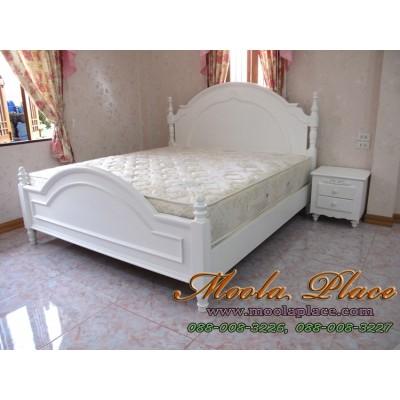 เตียงนอนสไตล์วินเทจ หัวเตียงแกะสลัก ขนาด 6 ฟุต