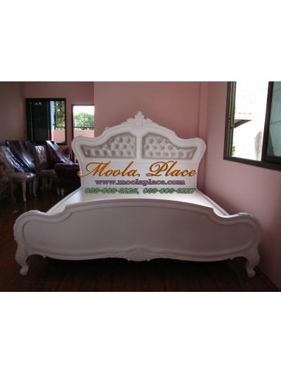 เตียงนอนหลุยส์ทรงใหญ่ ไม้สักแกะสลัก ขนาด 6 ฟุต (ลูกค้าสามารถเลือกได้ว่าบุหรือไม่บุ และสามารถเปลี่ยนตัวผ้าหรือหนังได้)