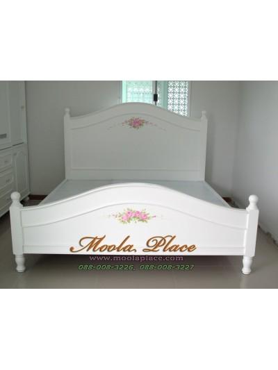 เตียงนอนสีขาว เพ้นท์ลายกุหลาบ ขนาด 6 ฟุต