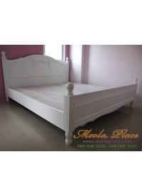 เตียงนอนสไตล์วินเทจ แกะลายรูปโบว์หัวเตียง ขนาด 6 ฟุต