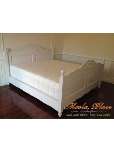 เตียงนอนสไตล์วินเทจ หัวเตียงและปลายเตียงแกะสลัก ขนาด 6 ฟุต