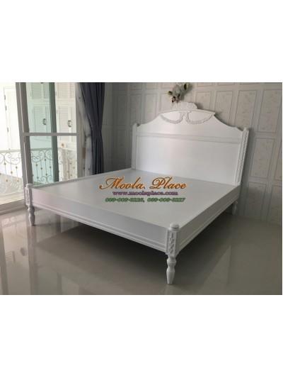 เตียงนอนขากลึงสไตล์วินเทจ แกะสลักลายสวยงาม หัวเตียงและท้ายเตียง ขนาด 6 ฟุต