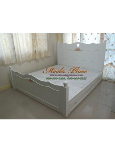 เตียงนอนสไตล์วินเทจ เพ้นท์ลาย มีลิ้นชัก ขนาด 6 ฟุต