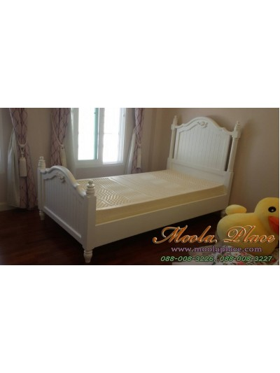 เตียงนอนขากลึงสไตล์วินเทจ แปะแกะสลักลายสวยงามหัวเตียงและท้ายเตียง ขนาด 3.5 ฟุต
