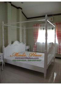 เตียงนอน มีเสาพร้อมคานไว้ใส่ม่าน ขนาด 6 ฟุต
