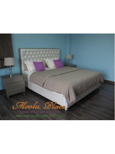 เตียงนอนกรอบเหลี่ยมสีบอร์น บุหัวเตียง ด้านข้างและปลายเตียง ขนาด 6 ฟุต