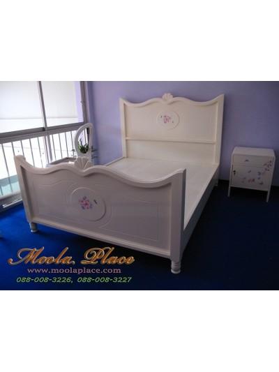 เตียงนอนสไตล์วินเทจ เพ้นท์ลายกุหลาบ ขนาด 5 ฟุต