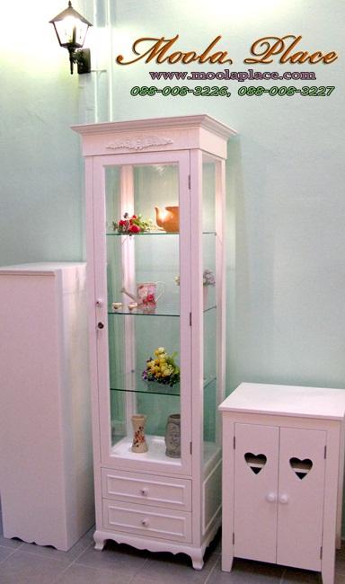 ตู้โชว์ สินค้า วินเทจ สีขาว ราคถูก