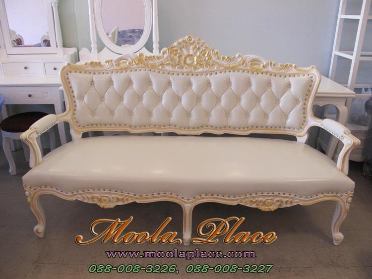โซฟาหลุยส์ ร้านผลิตโซฟาหลุยส์ โรงงานผลิตโซฟาหลุยส์ เก้าอี้โซฟาหลุยส์ ไม้สัก 3 ที่นั่ง ดึงกระดุมตองหมุดสวยงาม