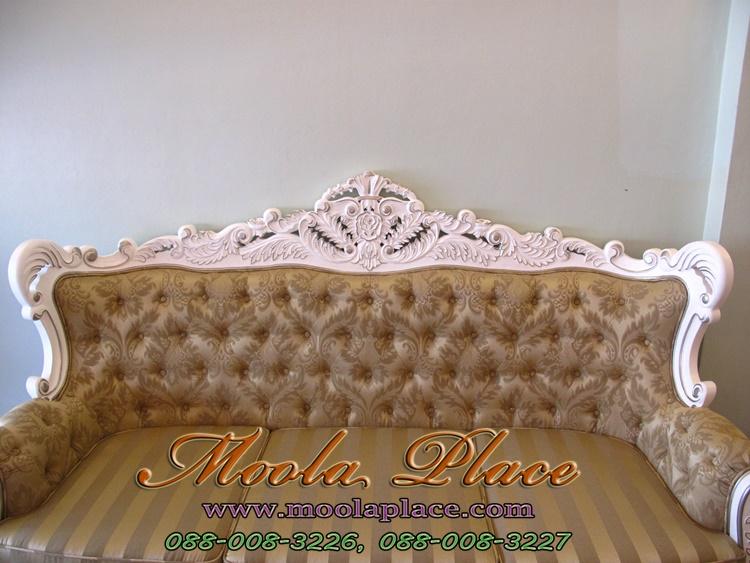 เก้าอี้โซฟาหลุยส์ไม้สัก แกะลายสวยงาม ไม้สัก แกะลายสวยงาม โซฟาหลุยส์โอบใหญ่ขนาด 3 ที่นั่ง ไม้สัก แกะลายสวยงาม ทำสีขาวเดินเงิน ดึงกระดุม ลูกค้าสามารถเลือกเปลี่ยนผ้าหรือหนังในการหุ้มได้