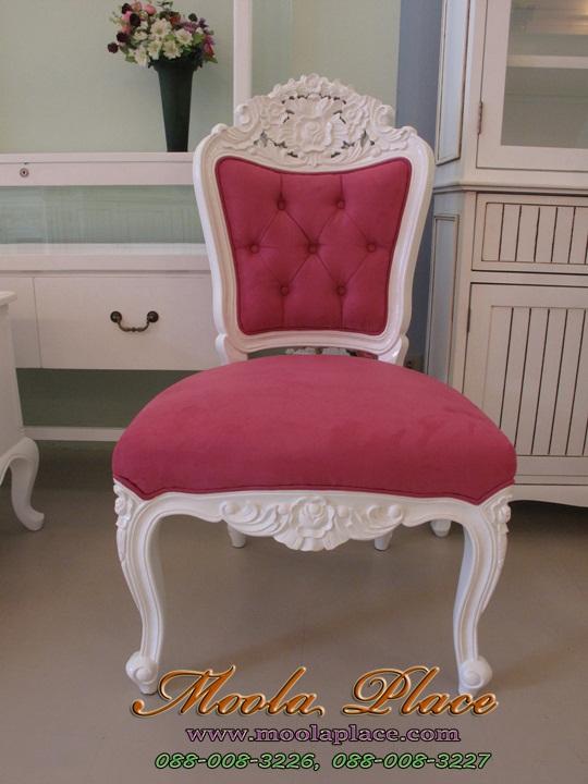 เก้าอี้ขาสิงห์หลุยส์ แกะลายสวยงาม แบบไม่มีท้าวแขน เฟอร์นิเจอร์วินเทจ เก้าอี้วินเทจ สีขาว