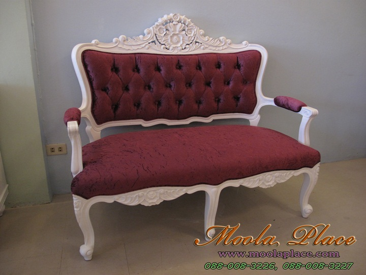 เก้าอี้หลุยส์  เก้าอี้ขาสิงห์หลุยส์  สีขาว วินเทจ  เก้าอี้ขาสิงห์หลุยส์ ไม้สัก 2 ที่นั่ง
