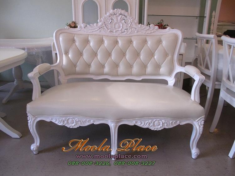 เก้าอี้ขาสิงห์หลุยส์ 2 ที่นั่ง ผลิตจาก ไม้สัก แกะลายสวยงาม บุหนัง PU อย่างดี ลูกค้าสามารถเลือกเปลี่ยนผ้าหุ้มได้