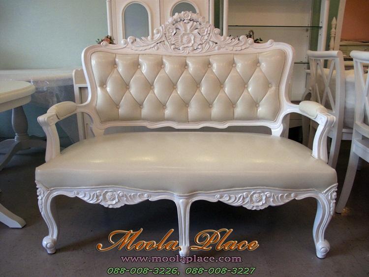 เก้าอี้หลุยส์  เเก้าอี้ขาสิงห์หลุยส์ 2 ที่นั่ง ผลิตจาก ไม้สัก แกะลายสวยงาม บุหนัง PU อย่างดี ลูกค้าสามารถเลือกเปลี่ยนผ้าหุ้มได้