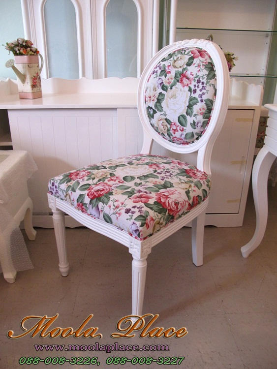 เก้าอี้ทรงหลังไข่ แกะลายกุหลาบ สไตล์วินเทจ หุ้มผ้าลายดอก
