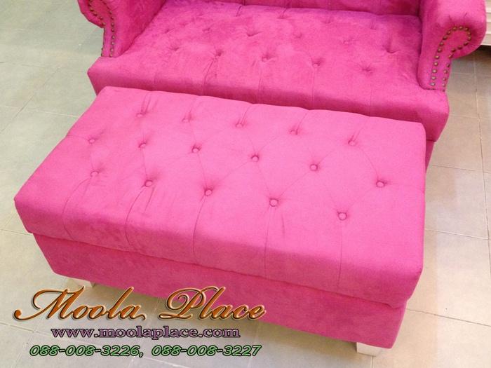โซฟา Wing Chair โซฟาสไตล์วินเทจ ผลิตจากผ้ากำมะหยี่นำเข้าอย่างดี