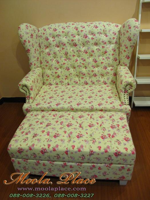 โซฟา Wing Chair สไตล์วินเทจ ลายดอกวินเทจ