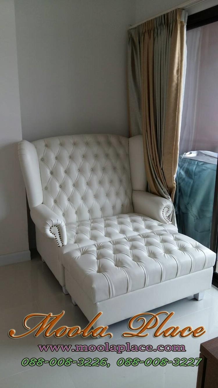 โซฟา Wing Chair สไตล์วินเทจ ผลิตจากผ้ากำมะหยี่นำเข้าอย่างดี
