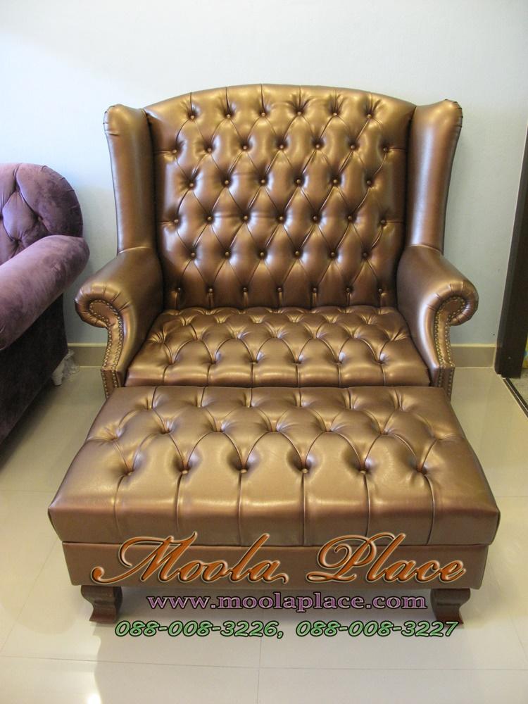 โซฟา Wing Chair สไตล์วินเทจ โซฟา Wing Chair พร้อมที่วางเท้า บุหนัง PU ขนาด กว้าง 120  x ลึก 85 x สูง 110 สามารถเปลี่ยนสีหนังหรือตัวผ้าได้